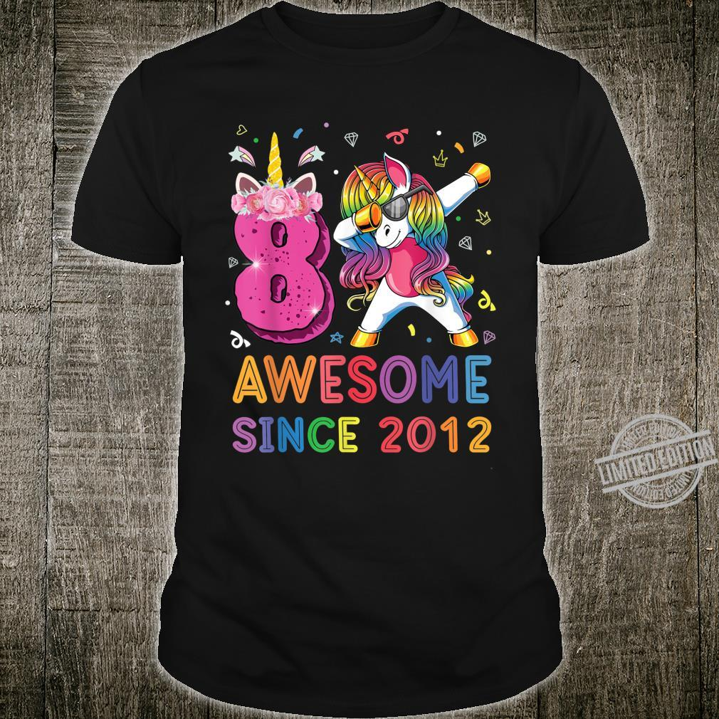 Awesome Since 2012 Dabbing Unicorn Shirt 8th Birthday Party Shirt
