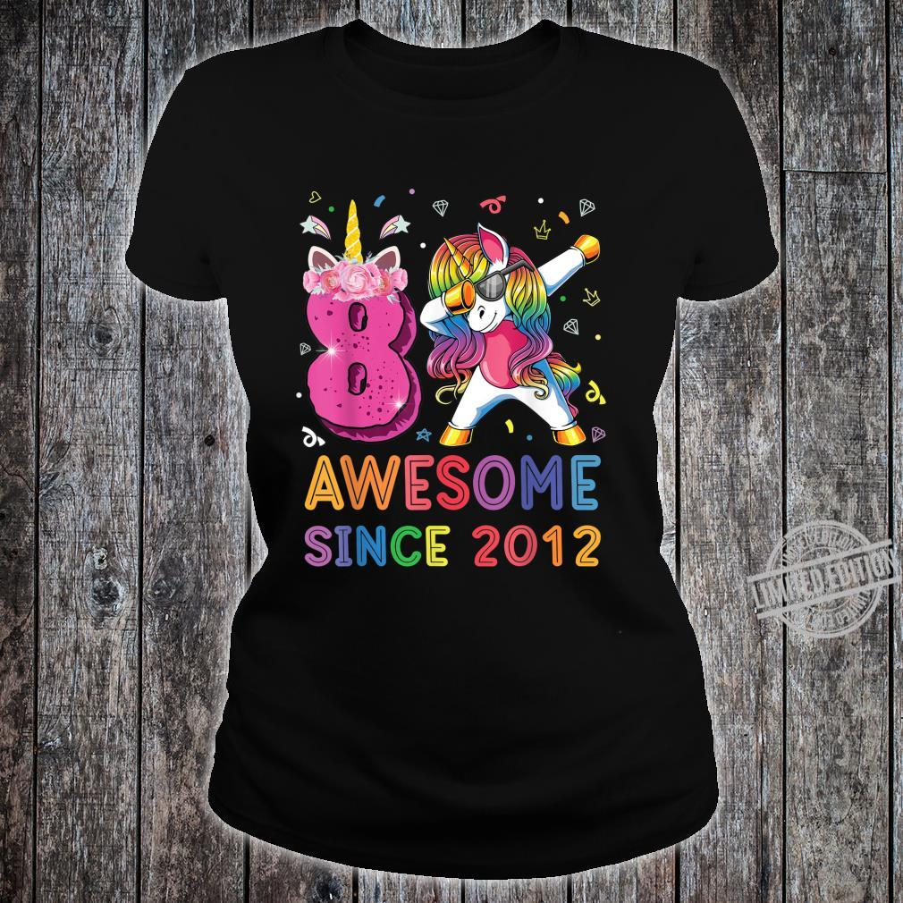 Awesome Since 2012 Dabbing Unicorn Shirt 8th Birthday Party Shirt ladies tee