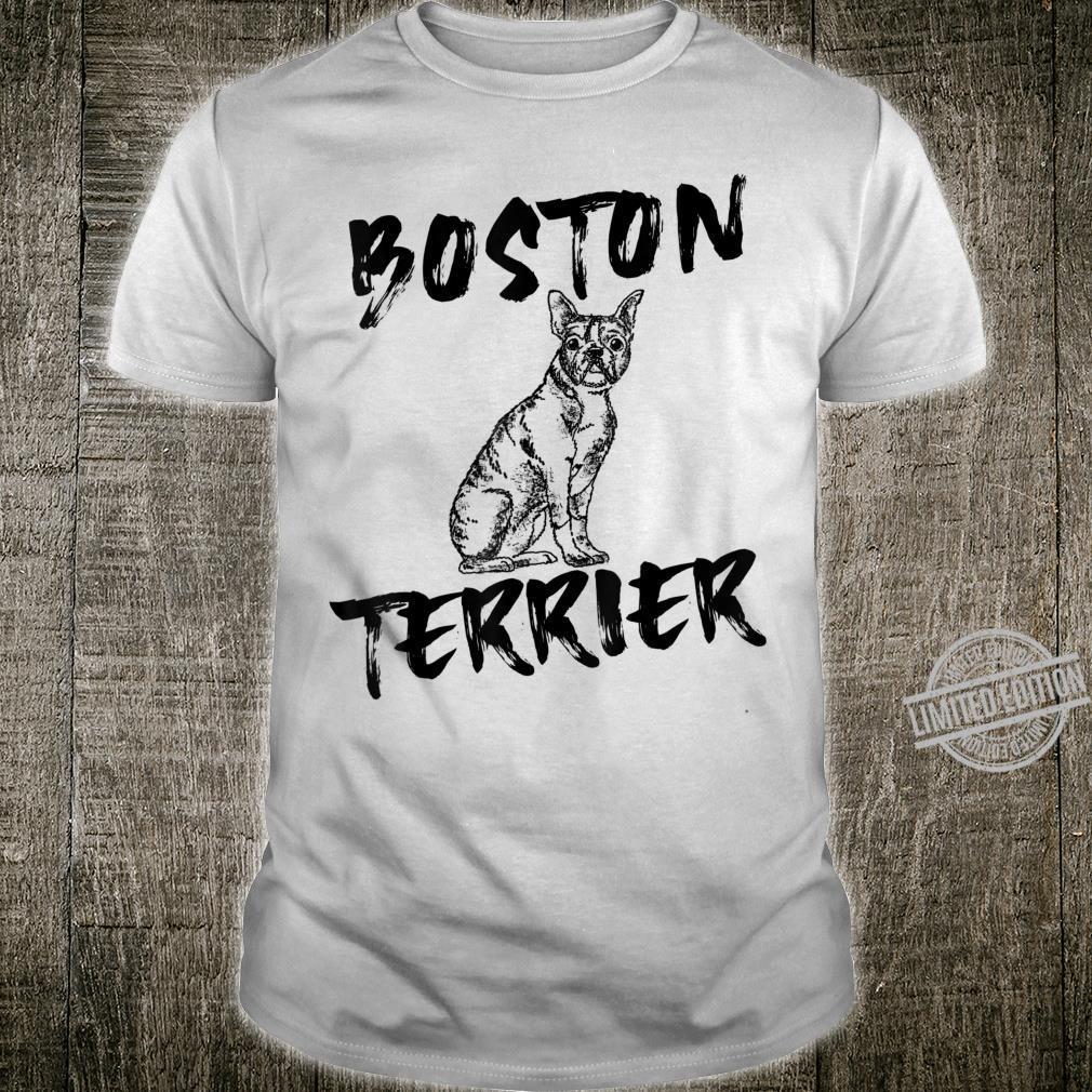 Black Boston Terrier Dog Unique Hand Drawn Art Shirt