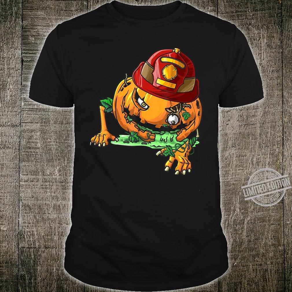 Cool Zombie Pumpkin Firefighter Halloween Costume Shirt