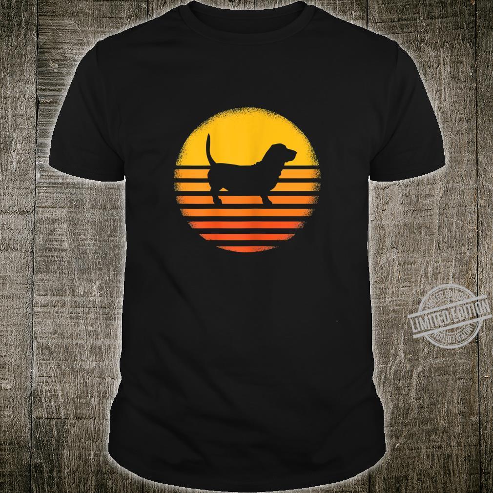 Damen Dackel Hund Hundehalter Geschenk Retro Sonnenuntergang Shirt
