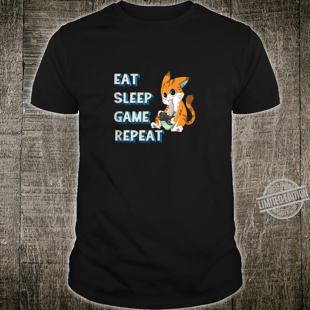 Eat Sleep Game Repeat Video Game Playing Cat Gamer Ramen Shirt