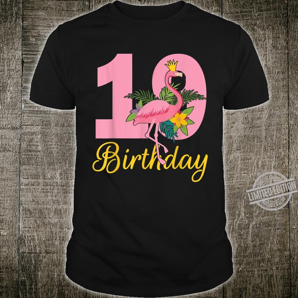 Flamingo Queen Dance Around Flowers Happy Birthday 19 Years Shirt