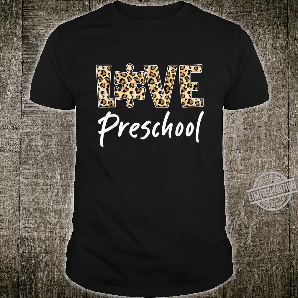Funny Preschool Teacher Autism Awareness Leopard Shirt