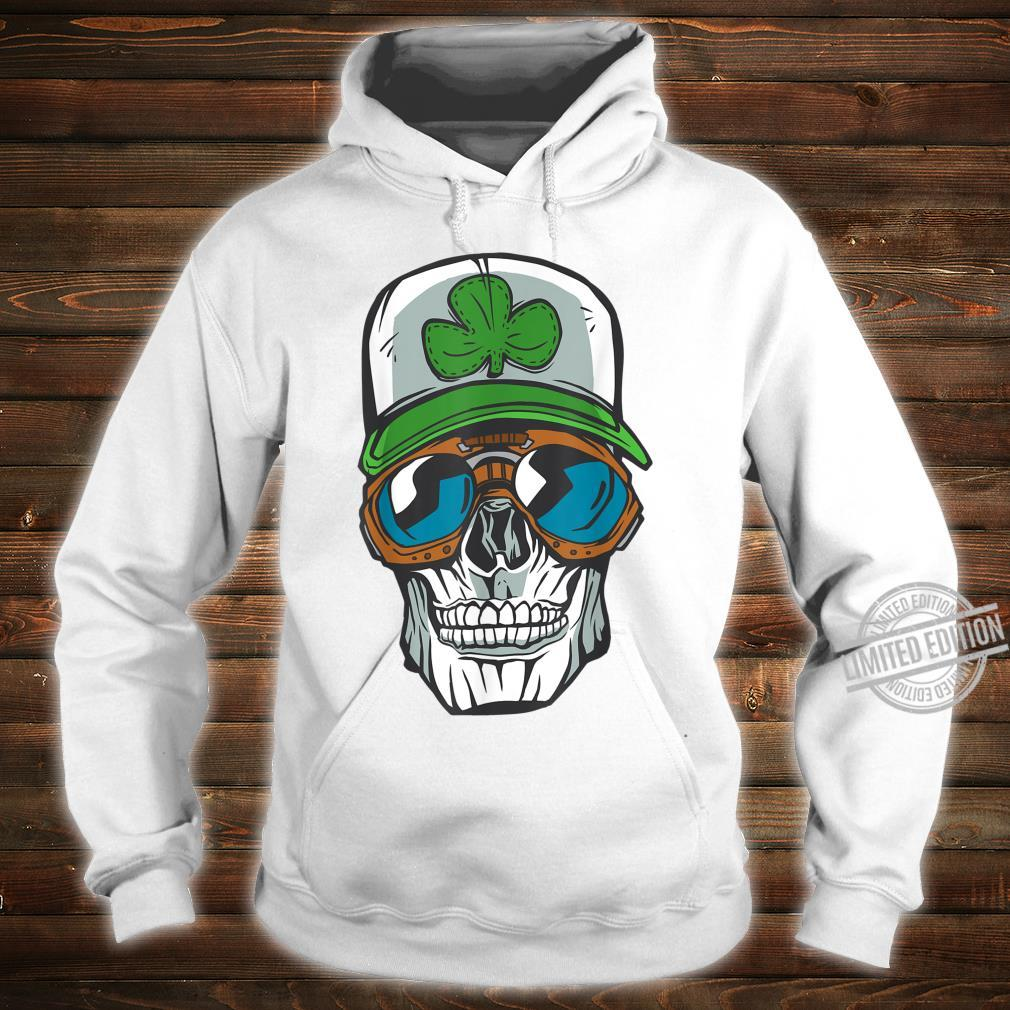 Halloween cool skull wearing a cap with a green clover Shirt hoodie