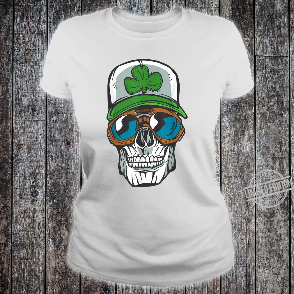 Halloween cool skull wearing a cap with a green clover Shirt ladies tee