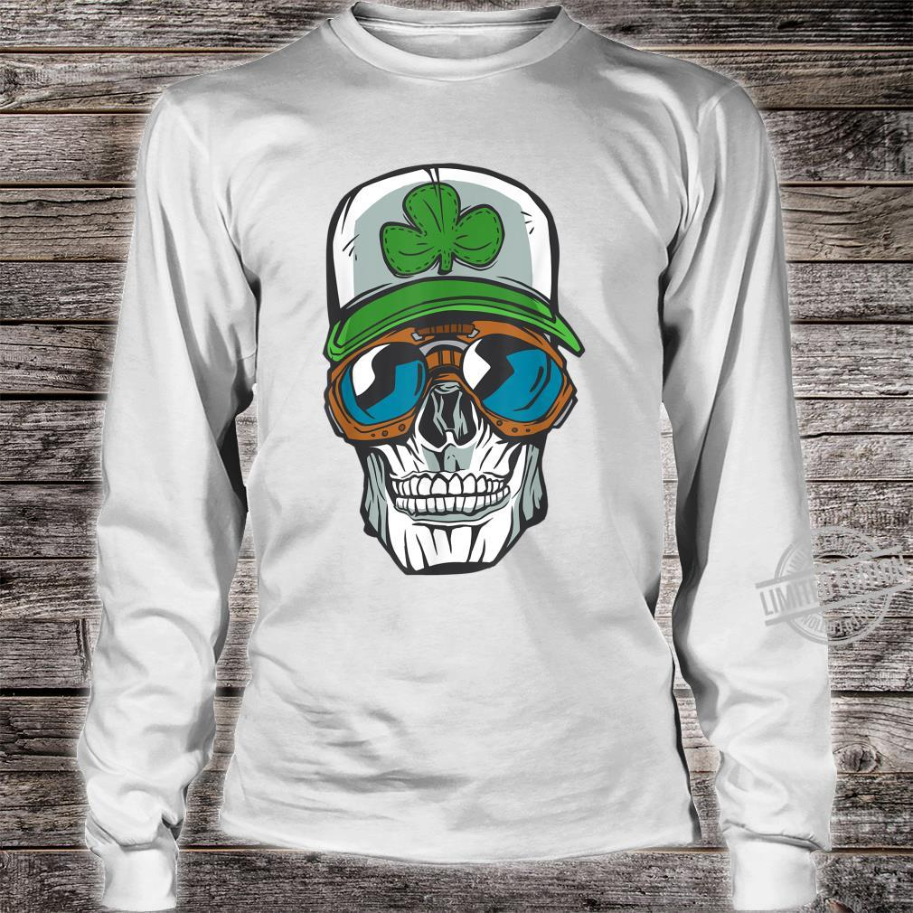 Halloween cool skull wearing a cap with a green clover Shirt long sleeved