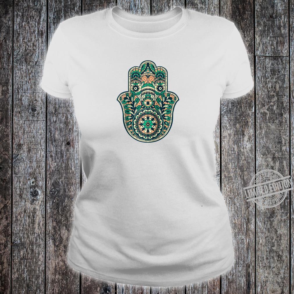 Hamsa Hand Oriental Ornament Art Islamic Symbol Yoga Shirt ladies tee