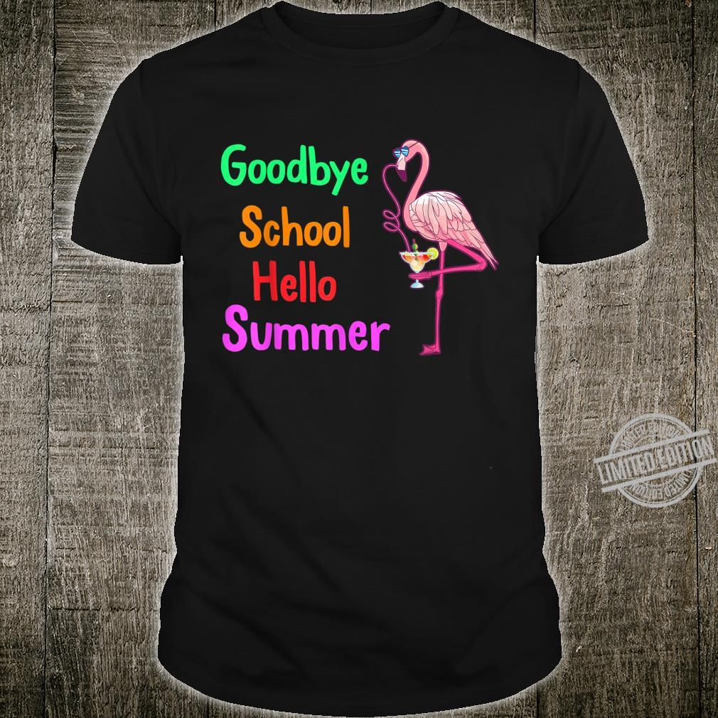 Happy Last Day Of School Teacher Hello Summer Flamingo Beach Shirt