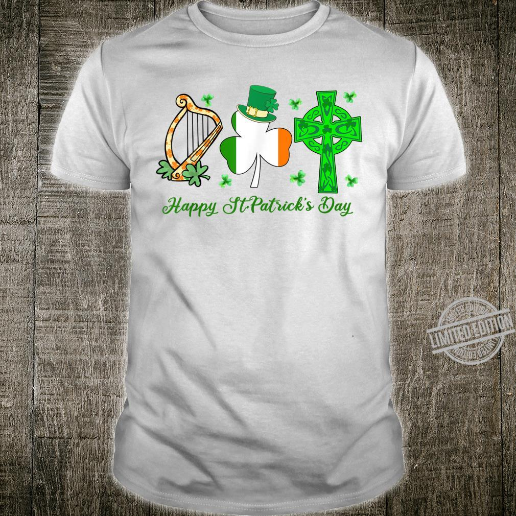 Irish Harp Shamrock Celtic Cross Happy St Patrick's Day Shirt