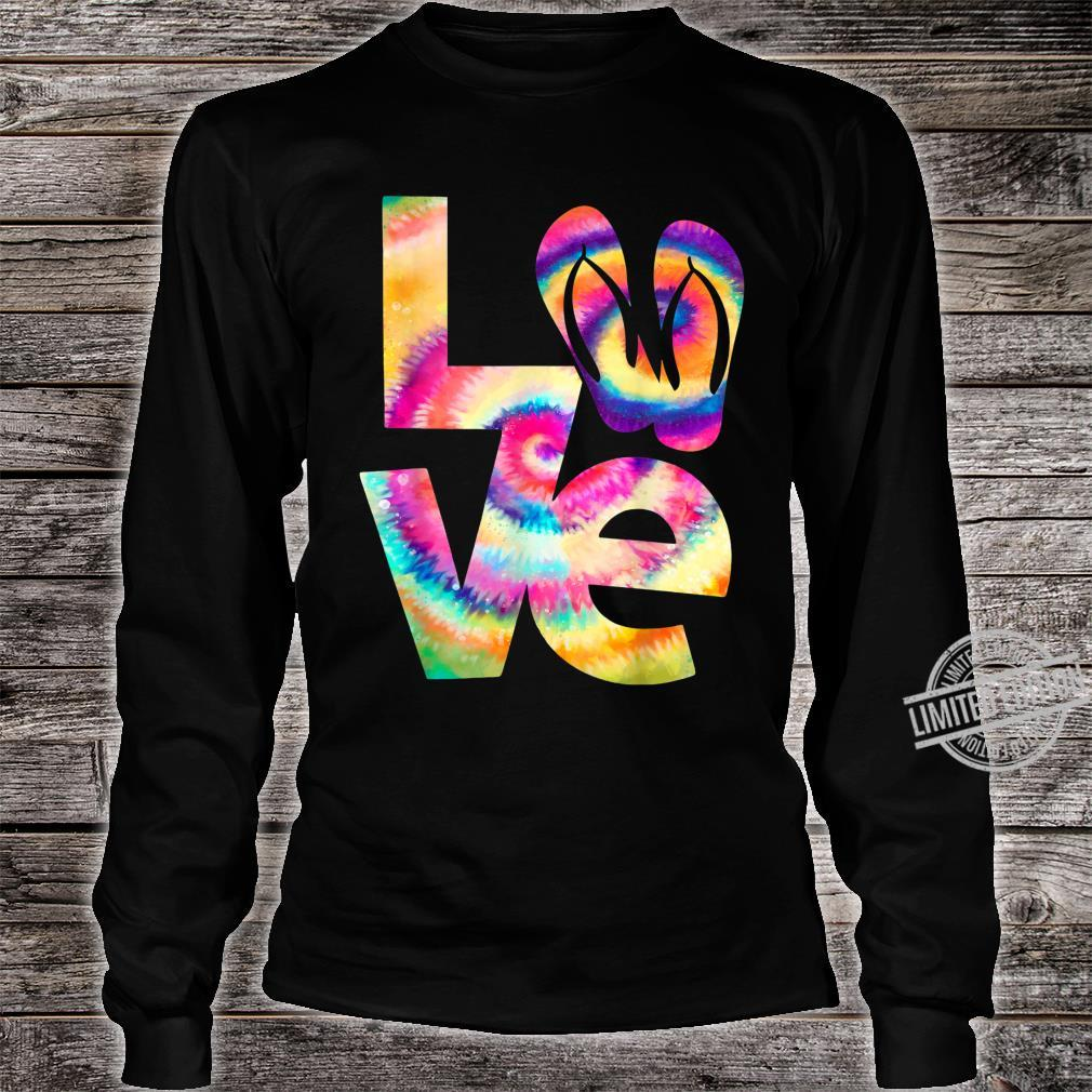 LOVE flip flop Tie Dye Hippies girls Shirt long sleeved