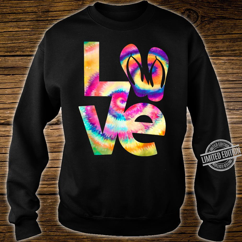 LOVE flip flop Tie Dye Hippies girls Shirt sweater