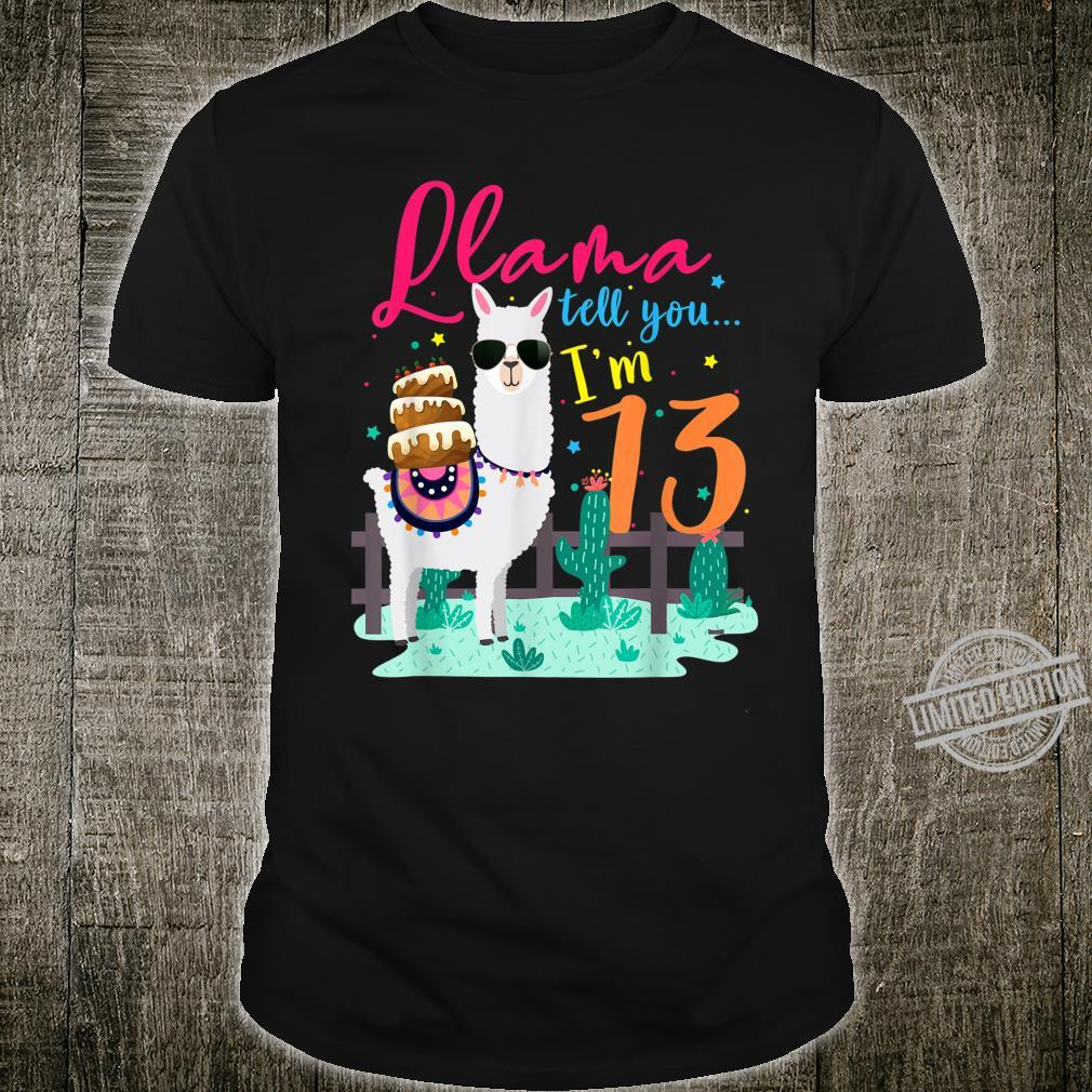 Llama Themed Birthday Party Girls Tell You I'm 13 Years Old Shirt