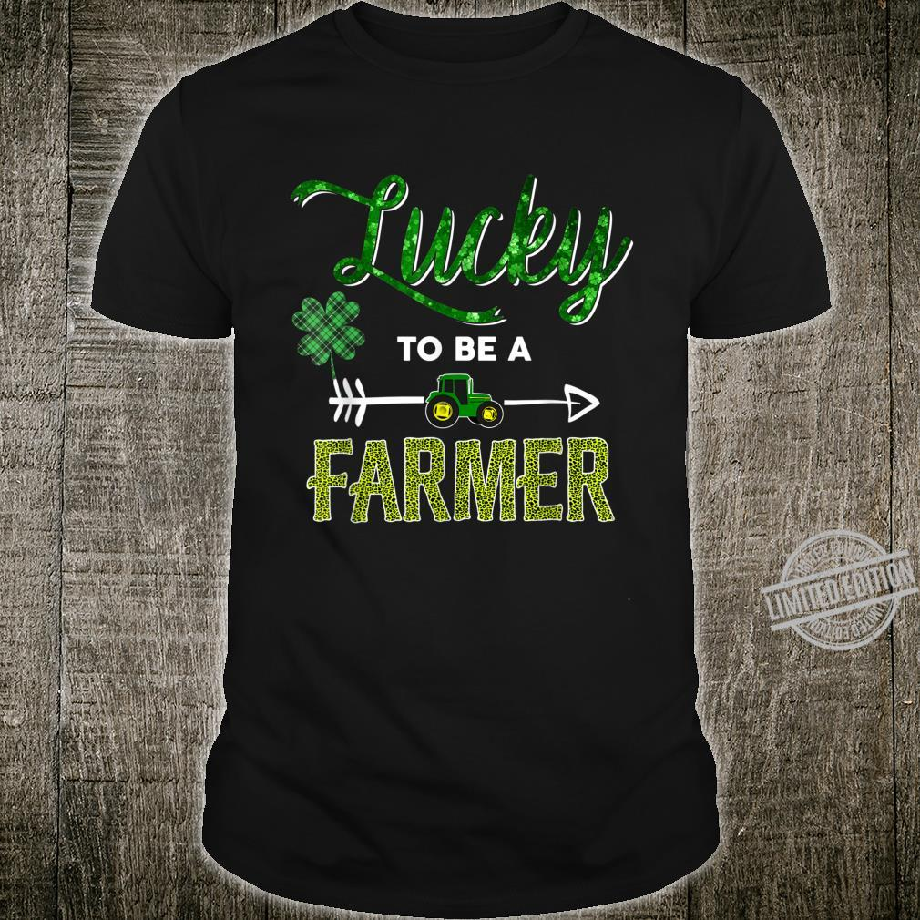 Lucky To Be A Farmer Leopard Green Plaid St Patrick's Day Shirt