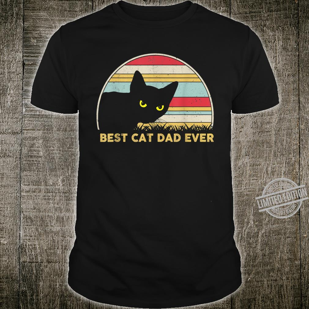 Mens Retro Vintage Cats Person Outfits Best Cat Dad Ever Shirt