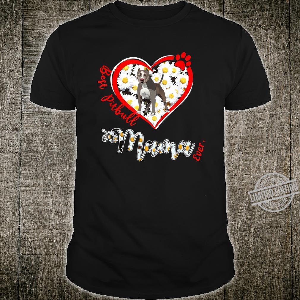 Pitbull In Flower Heart Best Pitbull Mama Vintage Shirt