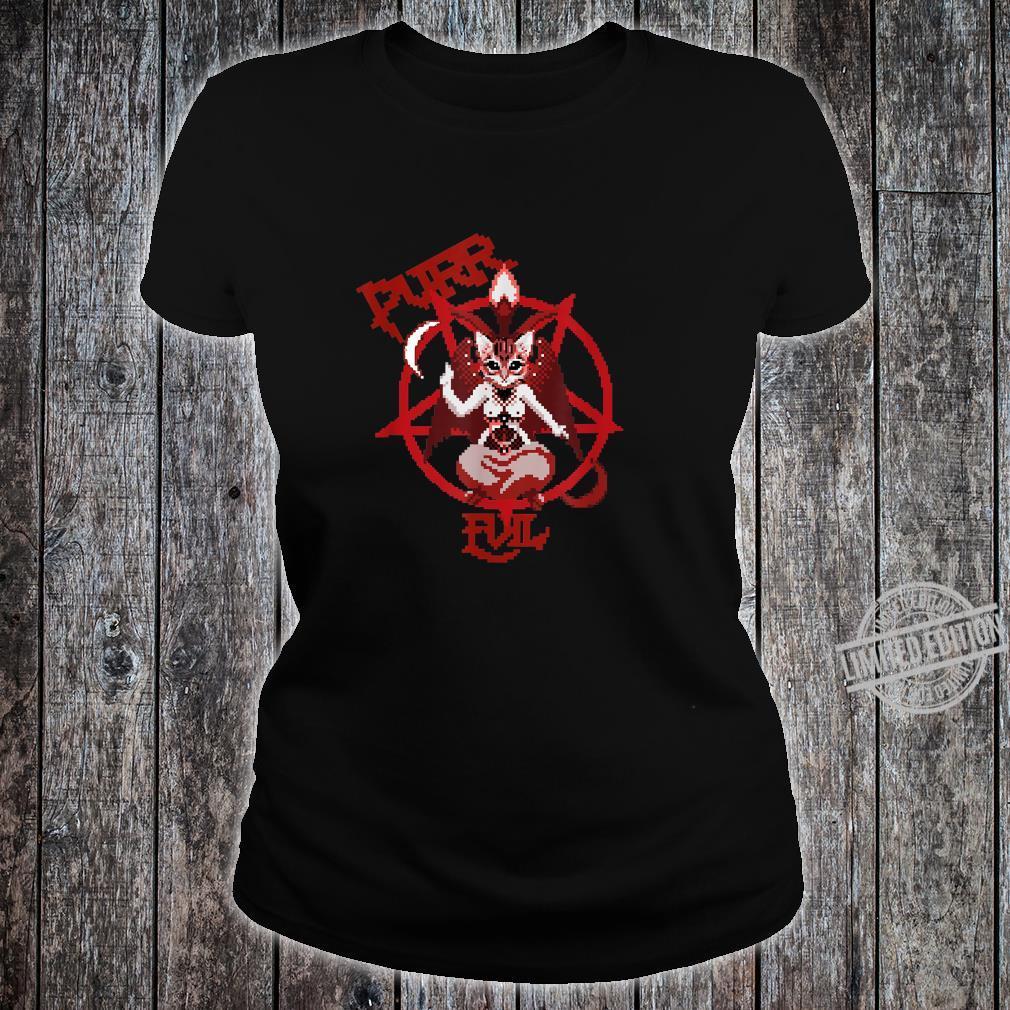 Purr Evil satanic cat pentagram cat retro pixel Shirt ladies tee