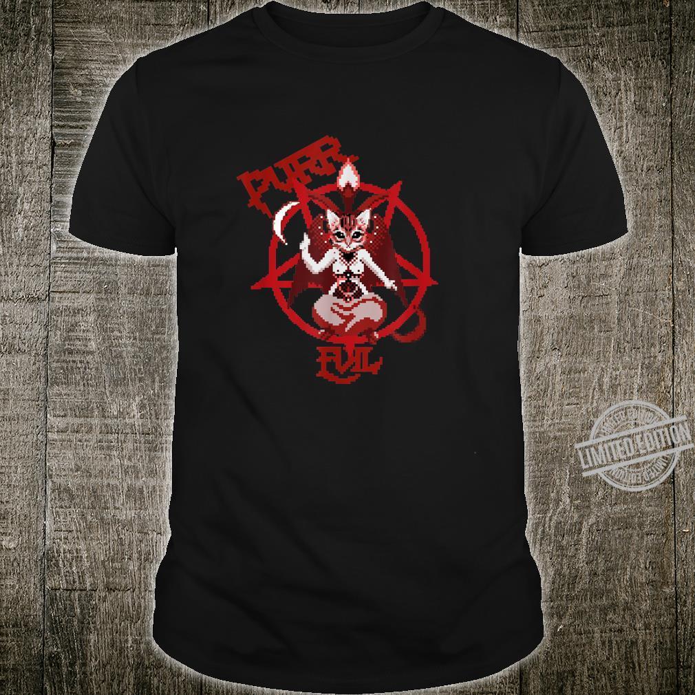 Purr Evil satanic cat pentagram cat retro pixel Shirt