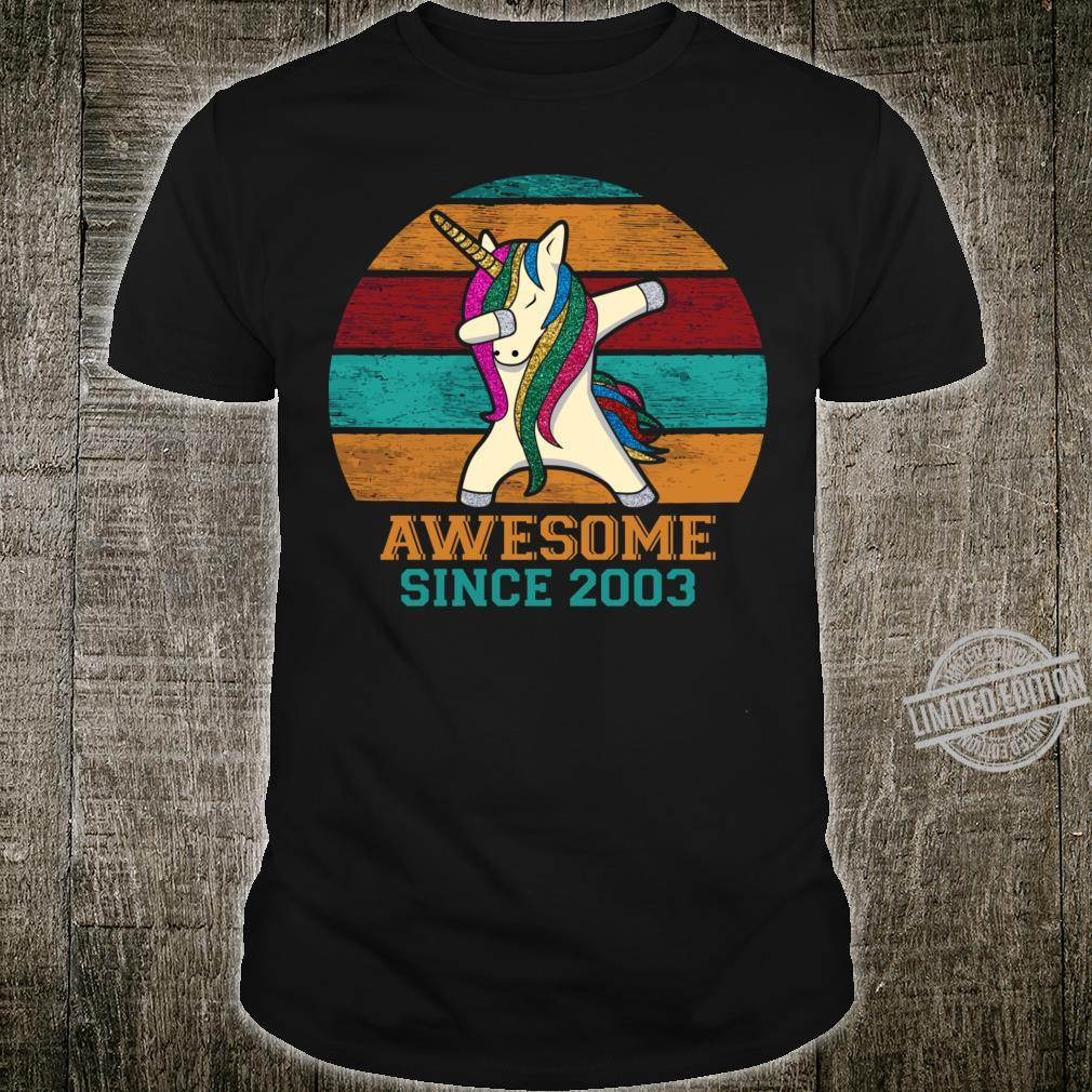Unicorn Dabbing Vintage 2003 17th Birthday 17 Years Old Awesome Since 2003 Slim Fit Shirt