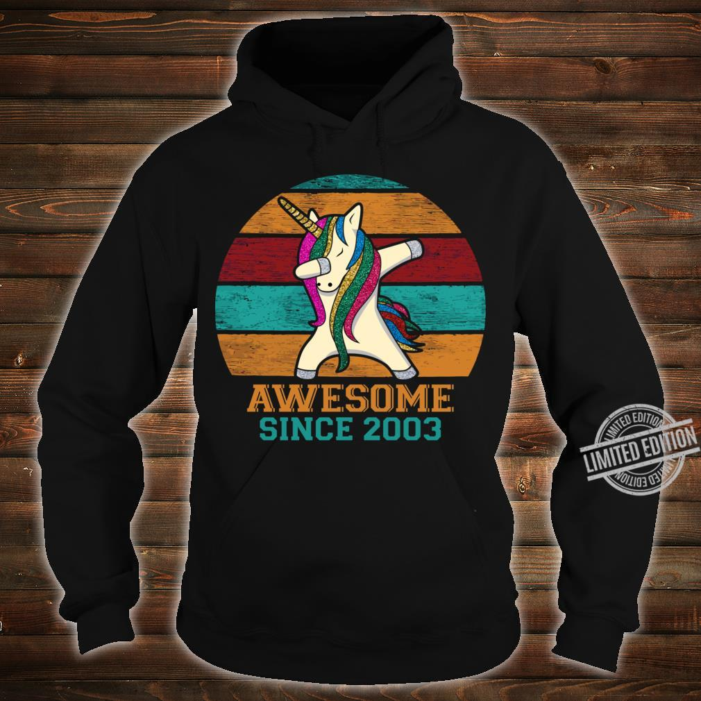 Unicorn Dabbing Vintage 2003 17th Birthday 17 Years Old Awesome Since 2003 Slim Fit Shirt hoodie
