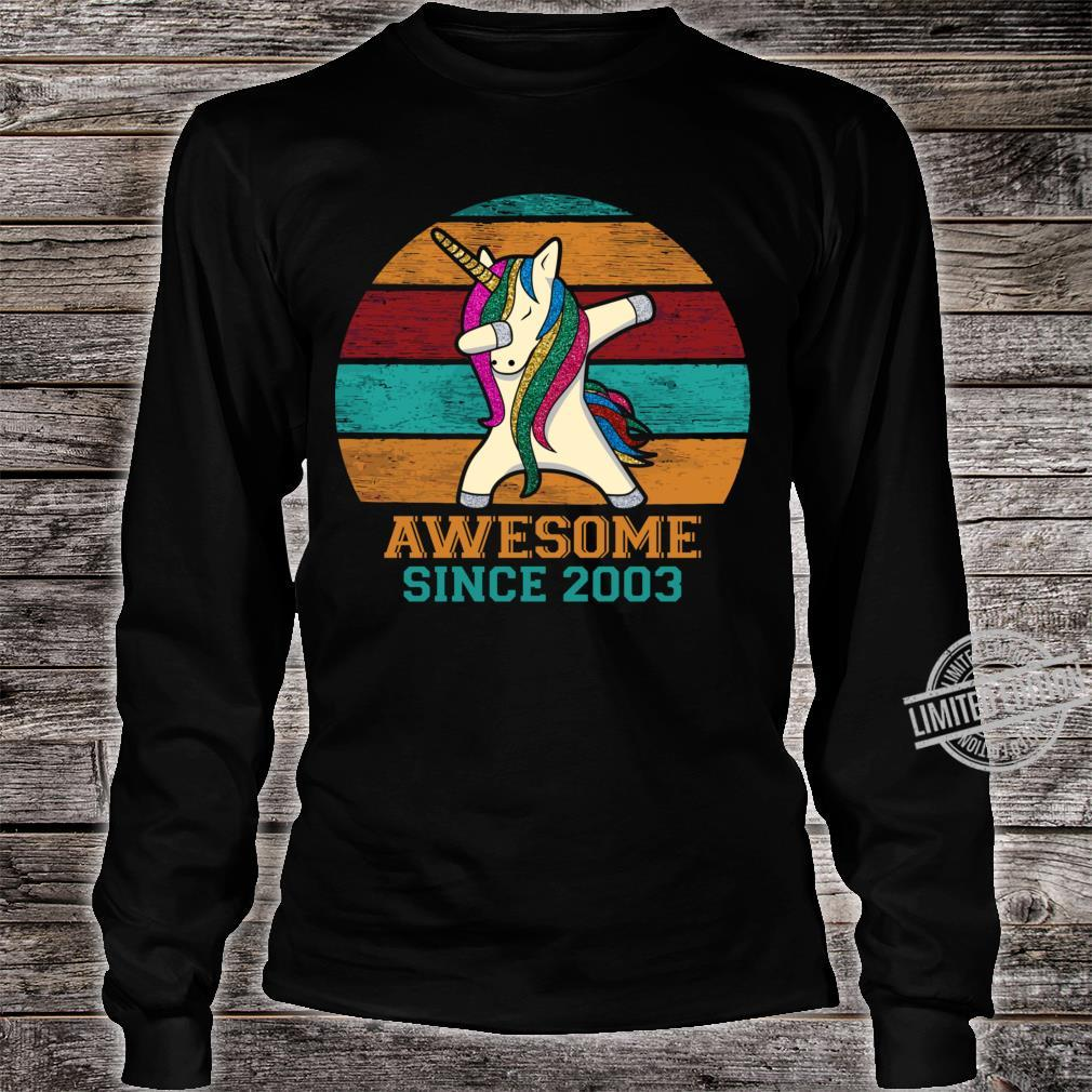 Unicorn Dabbing Vintage 2003 17th Birthday 17 Years Old Awesome Since 2003 Slim Fit Shirt long sleeved