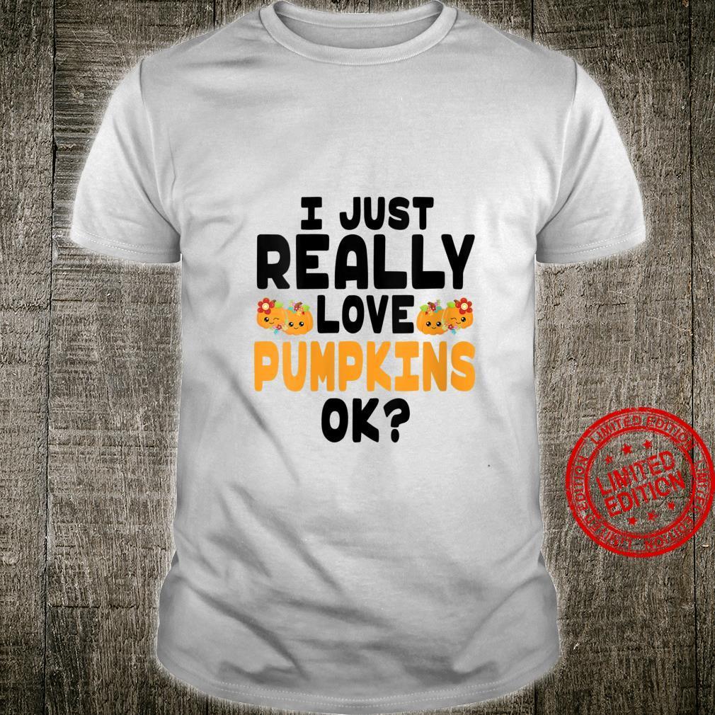 Womens Cute Kawaii Pumpkins with Eyes I Love Pumpkins OK Shirt